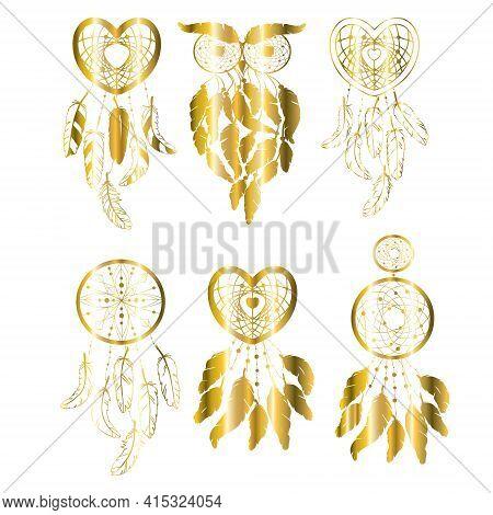Boho Chic Dreamcatcher Illustration Set. Hindu Paisley Motifs. Gold Spirituality, Prints, Ornamental