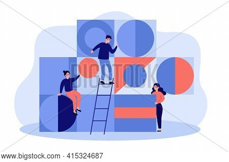 Team Of Young People Arranging Abstract Geometric Figures. Flat Vector Illustration. Cartoon People
