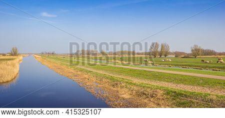 Panorama Of The River In Recreation Area Het Twiske, Netherlands