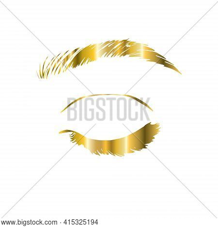 Eyelash Extension Logo. Makeup With Gold Glitter. Vector Illustration