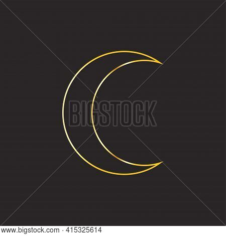 Gold Trendy Shades Phases Of The Moon, Magic Astrology And Boho. Magic Concept, Minimalism. Figure A