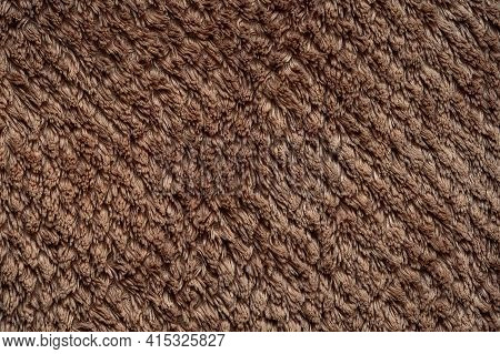Fibers Brown Terry Cloth Close Up Background