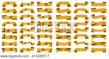 Vector Set Of Ribbons In Yellow Color. Gold, Ocher. Different Version And Shape. Flag, Scroll, Silk
