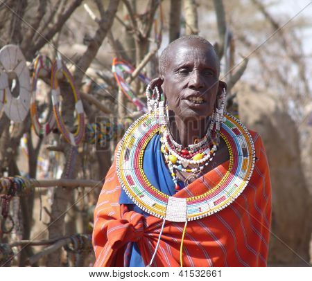 Masai woman in traditional dress and jewellery