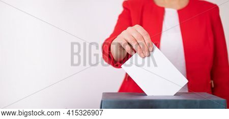 Banner of a voter putting vote in the ballot box. Election concept.