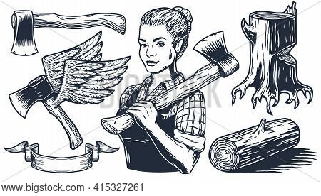 Lumberjack Woman. Set Of Elements For Axeman