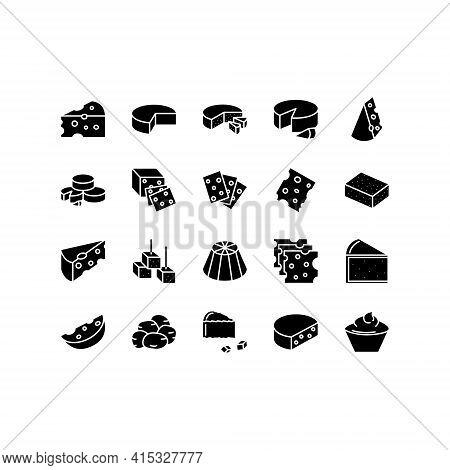 Cheese Flat Line Icons Set On White Background. Parmesan, Mozzarella, Ricotta Vector Illustrations.
