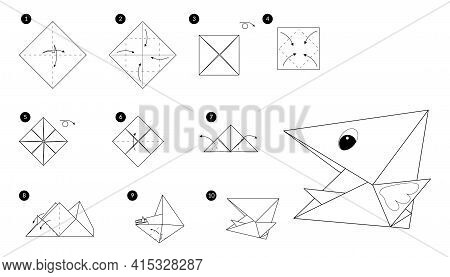 Bird Head Origami Line Monochrome Instruction Step By Step. Illustration How To Make Chick Beak From