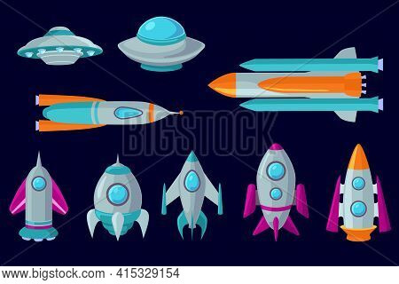 Set Of Cartoon Spaceships, Aerospace Rockets And Ufo. Colored Flat Vector Illustration. Isolated Fut