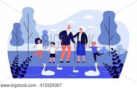 Happy Grandparents And Kids Walking In Park Together. Lake, Swan, Grandchild Flat Vector Illustratio
