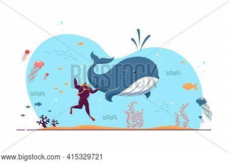 Tiny Man Exploring Marine Wildlife. Diver, Whale, Sea Or Ocean Fishes Flat Vector Illustration. Aqua