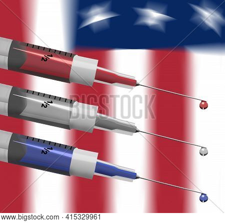 Syringes Filled With Red, White And Blue Liquid Are Seen In Front Of A Usa Flag In This 3-d Illustra