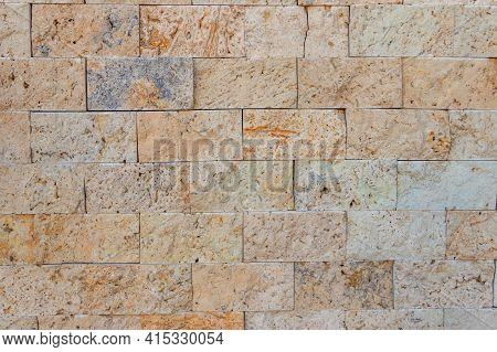 A Background Of The Beige Travertine Tiles
