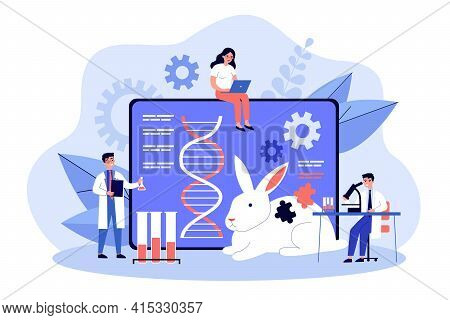 Genetic Engineering Researcher Scientist Group. Man And Woman Researchers And Experiment With Animal