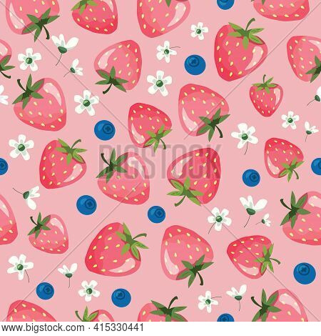 Strawberry Summer Seamless Pattern. Cartoon Girly Background For Textile, Fabric, Birthday Wrapping