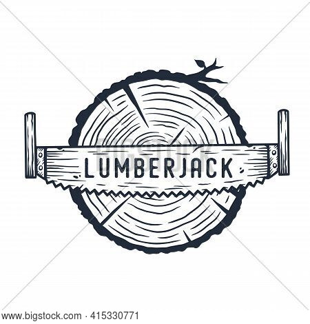 Lumberjack Log, Wood Or Timber With Rings And Saw