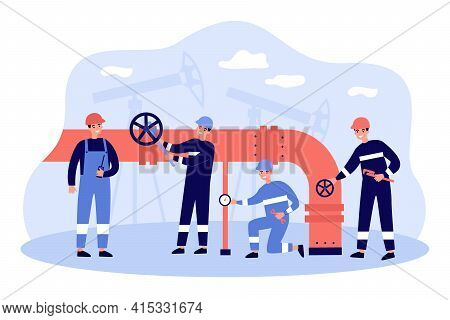 Cartoon Workers Characters With Pipeline Transporting Oil Or Gas. Flat Vector Illustration. Men In U