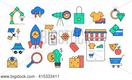 Online Shopping And Startup Projects - Colorful Line Design Style Icons