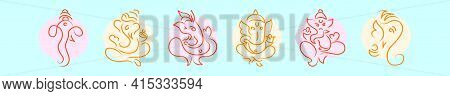 Set Of Ganesha Cartoon Icon Design Template With Various Models. Modern Vector Illustration Isolated