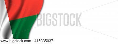 Madagascar Flag On White Background. White Background With Place For Text Near The Flag Of Madagasca