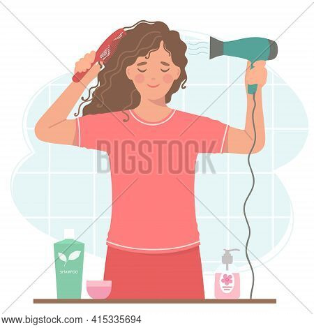 Beautiful Curly-haired Woman Dries Her Hair With A Hair Dryer. She's Holding A Hair Dryer And A Hair