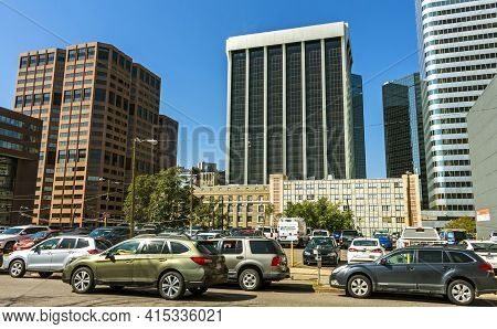 Denver,co - October 10,2019:rush Hour Traffic Downtown Denver, Colorado,united States Of America.