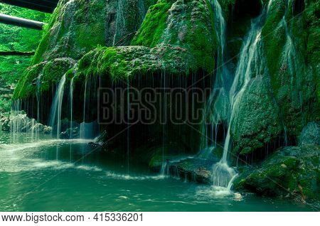 Side View Of The Bigar Waterfall, Natural Reserve In The Anina Mountains
