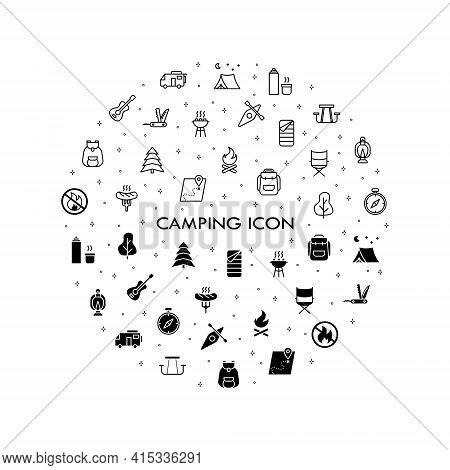 Camping, Travel And Picnic Icons Set. Line Style Icons For Web And Ui Design. Contains Such As Tent,