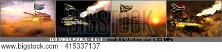4 Images Of Very High Resolution Modern Tank With Fictive Design And With South Africa Flag - South
