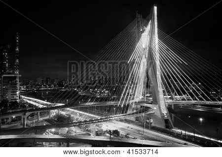 Most famous bridge lit up in the city at night Octavio Frias De Oliveira Bridge Pinheiros River Sao Paulo Brazil poster
