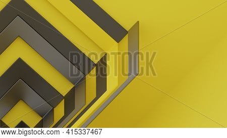 Geometrical Cubic Shapes In Yellow And Metallic Gray. Abstract Background, Digital 3d Rendering.