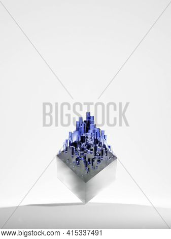 Blue, Square Crystal Formation Growing Over A Shiny, Metallic Cube. Abstract Fantasy Background, Dig