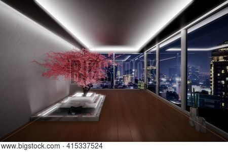 Zen-like Room With A Pink Cherry Tree In An Interior Space With View To A City At Night. Modern Arch