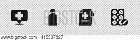 Set Map Pointer With Cross Hospital, Bottle Of Medicine Syrup, Medical Prescription And Pen And Pill