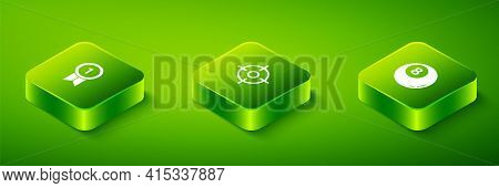 Set Isometric Target Sport, Billiard Pool Snooker Ball And Medal Icon. Vector