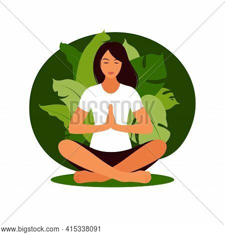 Woman Meditating In Nature. Meditation Concept, Relax, Recreation, Healthy Lifestyle, Yoga. Woman In