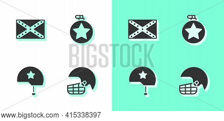 Set American Football Helmet, Flag Confederate, Military And Canteen Water Bottle Icon. Vector