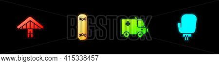Set Hang Glider, Skateboard Trick, Ambulance And Emergency Car And Boxing Glove Icon. Vector