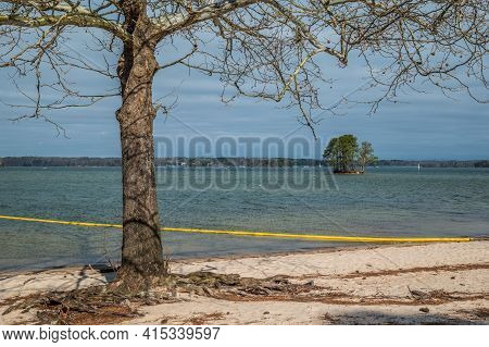 On The Beach Swim Area At The Lake Looking Out At The Nearby Small Deserted Island With Trees Roots