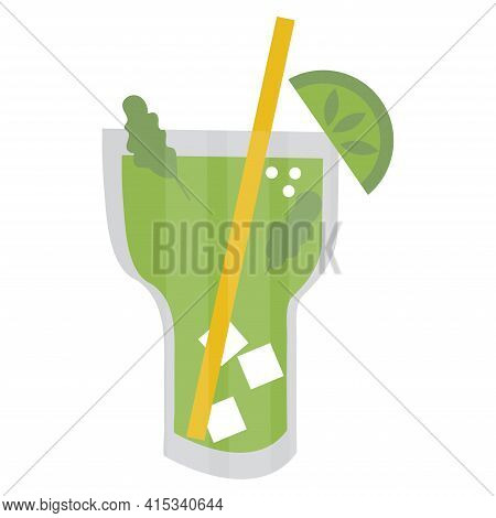 Mojito In A Glass With Mint, Straw And Lime. Green Drink Isolated On White Background