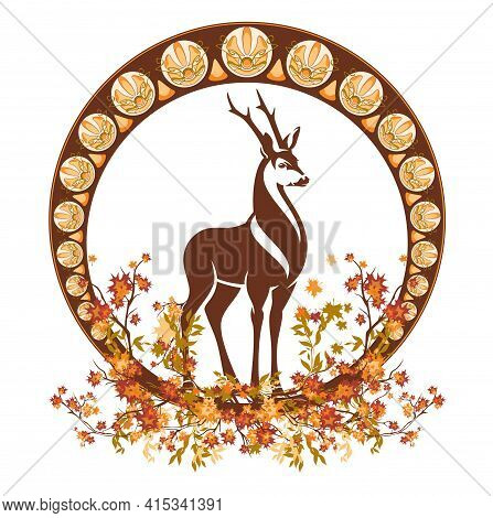 Art Nouveau Style Autumn Season Decorative Vector Frame With Wild Deer Stag Among Falling Leaves And