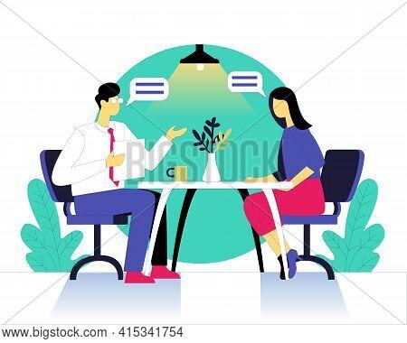 Job Interview Taken By Boss Illustration Concept Vector