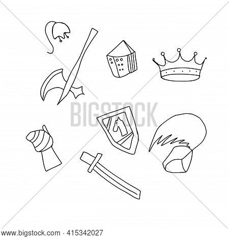Set Of Mediaeval Knight Tools And Weapons, Doodle Sketch