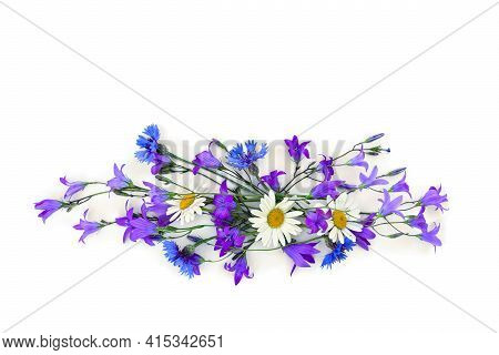 Violet Flowers Bellflowers, Chamomiles And Blue Cornflowers On A White Background With Space For Tex