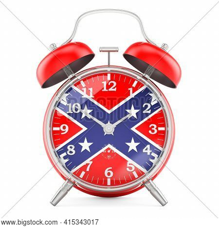 Alarm Clock With Confederate States Of America Flag, 3d Rendering Isolated On White Background