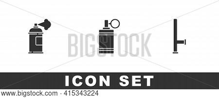Set Paint Spray Can, Hand Grenade And Police Rubber Baton Icon. Vector