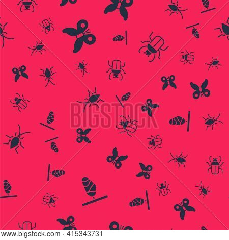 Set Butterfly Cocoon, , Cockroach And Stink Bug On Seamless Pattern. Vector