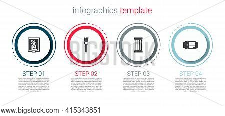 Set Portrait In Museum, Paint Brush, Ancient Column And Museum Ticket. Business Infographic Template