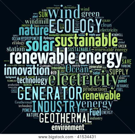 Renewable energy concept in word collage