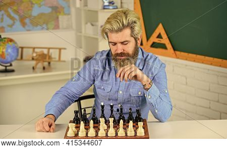 Take Defeat With Grace. Man Hold Chess Piece. Concentrated Man Developing Chess Strategy. Playing Bo